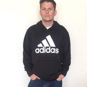 Adidas Essential Linear Black Logo Hoodie Coat